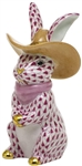 Herend Cowboy Bunny Rabbit Figurine Raspberry Fishnet
