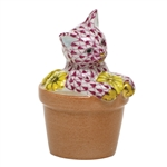 Herend Flower Pot Kitty Cat Figurine Raspberry Fishnet