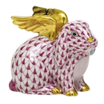 Herend Angel Bunny Rabbit Figurine Raspberry Fishnet