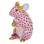 Herend Mouse with Bow Figurine Raspberry Fishnet