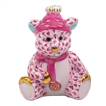 Herend Winter Bear Figurine Raspberry Fishnet