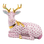 Herend Christmas Deer Lying Figurine Raspberry Fishnet