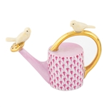 Herend Watering Can with Birds Figurine Raspberry Fishnet