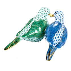 Herend Figurine Two Turtle Doves Multi Color Fishnet