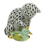 Herend Kitten and Duckling Multicolor Fishnet Figurine