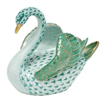 Herend Swan Figurine Green Fishnet