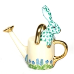 Herend Figurine Watering Can Bunny Rabbit Green Fishnet