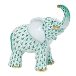 Herend Young Elephant Figurine Green Fishnet
