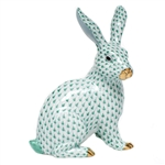 Herend Large Bunny Sitting Figurine Green Fishnet