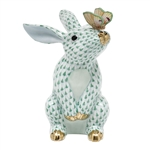 Herend Bunny with Butterfly Figurine Green Fishnet
