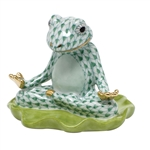 Herend Yoga Frog Figurine Green Fishnet