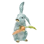 Herend Large Bunny with Carrot Green Fishnet