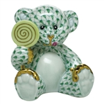 Herend Figurine Sweet Tooth Teddy Bear Green Fishnet