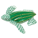 Herend Figurine Leatherback Turtle Green Fishnet