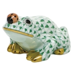 Herend Figurine Frog With Ladybug Green Fishnet