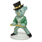 Herend Figurine Tap Dance Bear Green Fishnet