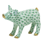 Herend Figurine Smiling Pig Green Fishnet