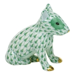 Herend Figurine English Bull Terrier Puppy Green Fishnet