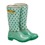 Herend Figurine Rain Boots Green Fishnet