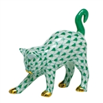 Herend Figurine Arched Kitty Cat Green Fishnet
