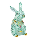 Herend Bunny with Christmas Lights Figurine Green Fishnet