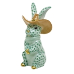 Herend Cowboy Bunny Rabbit Figurine Green Fishnet