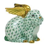Herend Angel Bunny Rabbit Figurine Green Fishnet