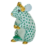 Herend Mouse with Bow Figurine Green Fishnet