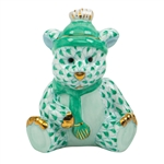Herend Winter Bear Figurine Green Fishnet