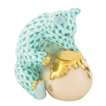 Herend Bear with Honey Pot Green Fishnet