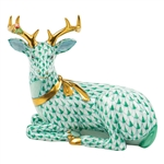 Herend Christmas Deer Lying Figurine Green Fishnet