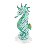 Herend Seahorse on Scallop Shell Green Fishnet