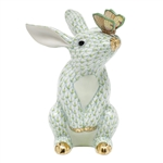 Herend Bunny with Butterfly Figurine Key Lime Fishnet