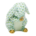 Herend Praying Bunny Figurine Key Lime Fishnet