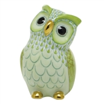 Herend Large Owl Bird Figurine Key Lime Fishnet