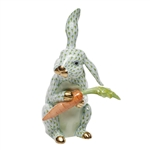 Herend Large Bunny with Carrot Key Lime Fishnet