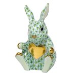 Herend Figurine Sweetheart Bunny Rabbit Key Lime Fishnet