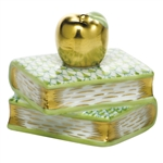 Herend Figurine Apple on Books Key Lime Fishnet