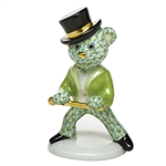 Herend Figurine Tap Dance Bear Key Lime Fishnet