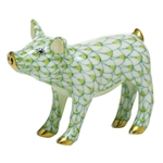 Herend Figurine Smiling Pig Key Lime Fishnet