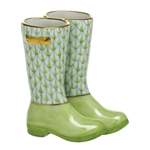 Herend Figurine Rain Boots Key Lime Fishnet