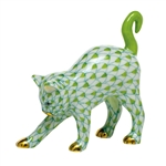 Herend Figurine Arched Kitty Cat Key Lime Fishnet