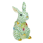 Herend Bunny with Christmas Lights Figurine Key Lime Fishnet