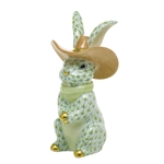 Herend Cowboy Bunny Rabbit Figurine Key Lime Fishnet