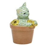 Herend Flower Pot Kitty Cat Figurine Key Lime Fishnet