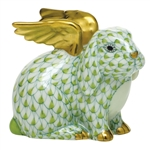 Herend Angel Bunny Rabbit Figurine Key Lime Fishnet