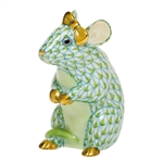 Herend Mouse with Bow Figurine Key Lime Fishnet
