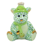 Herend Winter Bear Figurine Key Lime Fishnet