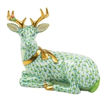 Herend Christmas Deer Lying Figurine Key Lime Fishnet