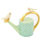Herend Watering Can with Birds Figurine Key Lime Fishnet